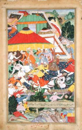 The Wounding of Kilan Khan by a Rajiput during his march to Gujerat in 1573, from the 'Akbarnama' ma