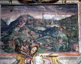Bedroom, detail of frieze depicting towns under Medici rule, Fiesole