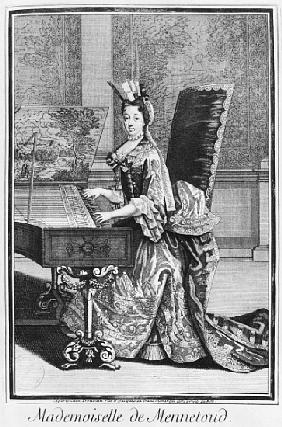 Mademoiselle de Mennetoud playing the harpsichord