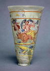 Vase with painted decoration depicting Europa and the Bull, Roman (glass) (see also 98005)