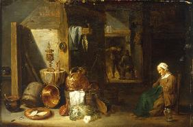 D.Teniers, Interior with a Woman.
