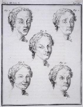 Heads showing different passions