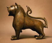 Lion with articulated tail, Islamic, from Spain, Umayyad Period, 12th to 13th century (cast and engr