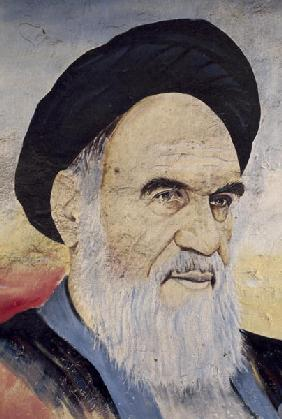 Portrait of Ruhollah Musawi Khomeini (1902-1989), 1994 (colour photo)