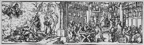 Sale of Indulgences / Woodcut / Holbein