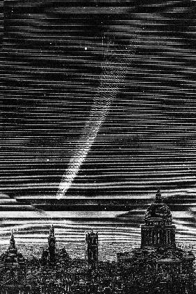 The great comet seen in Paris October 17, 1882, engraving by P. Fouche