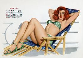 Pin up in bikini on a deck...