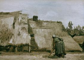 v.Gogh/Hut w.working peasant woman/1885
