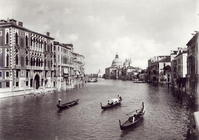 View of the Grand Canal with gondolas (b/w photo)