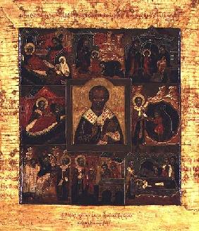 Russian icon of scenes from the life of St. Nicholas