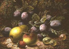 Still Life with Plums, Gooseberries, Apple, Pear and Strawberry