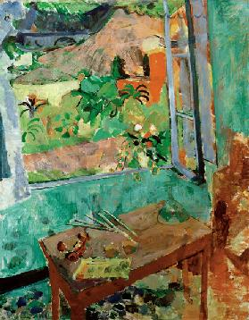 Studio with window view on house and bridge, Levanto