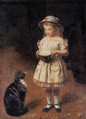 Fair-haired girl with cat
