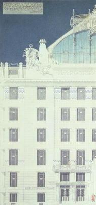 Post Office Savings Bank, Vienna, design showing detail of the facade, c.1904-06 (coloured pencil)