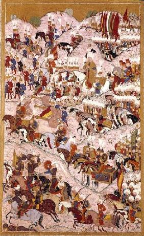 TSM H.1524 'Hunername' manuscript: Suleyman the Magnificent (1494-1566) at the Battle of Mohacs in 1