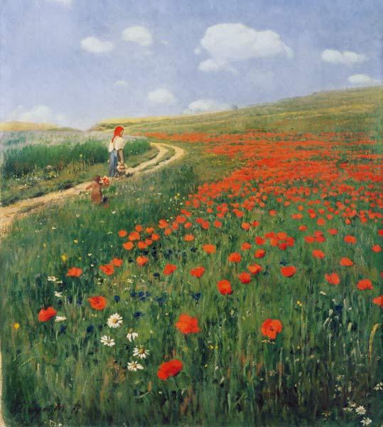 Paesaggio estivo con papaveri in fiore - quadro di Pál Szinyei-Merse