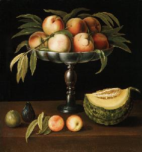 Goblet vase with peaches, pumpkin and figs