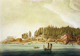 Early settlement of Vancouver (colour engraving)