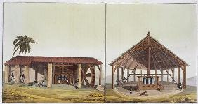 Slaves at work in the sugarmills, Antilles (colour engraving)