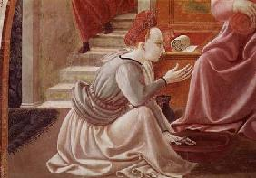 The Birth of the Virgin, detail of a seated maid servant from the fresco cycle of the Lives of the V