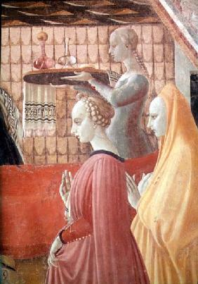 Birth of the Virgin, detail of a servant and two attendants