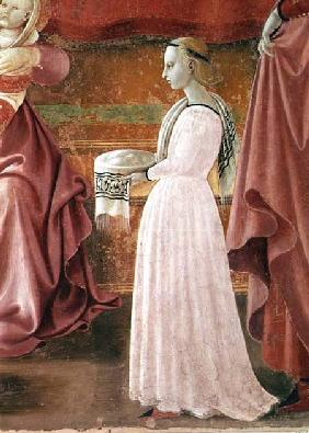 The Birth of the Virgin, detail of a standing maid servant from the fresco cycle of the Lives of the