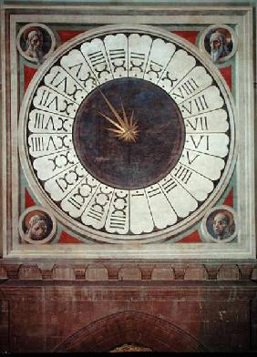 Canonical clock with the heads of four prophets
