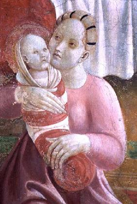 The Lives of The Virgin and St. Stephen, detail showing a mother and child, from the Cappella dell'A