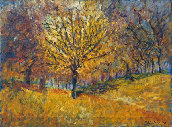 November in Hyde Park, 1997 (oil on canvas)