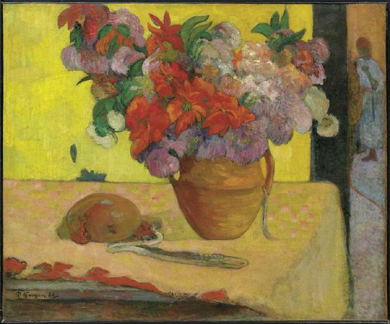 Blumen in einer Vase und eine Feldflasch - Paul Gauguin