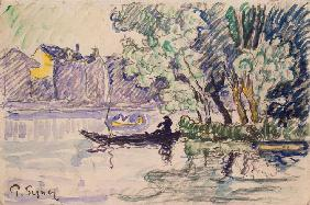 Fisherman in a Boat Near a Bank of the Seine
