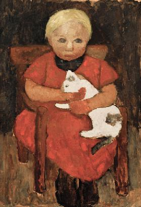 Sitting country child with cat