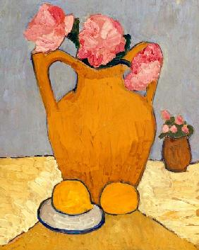 Still Life with Terracotta Jug, Peonies and Oranges