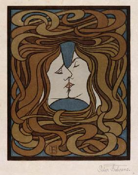 The kiss. Woodcut.