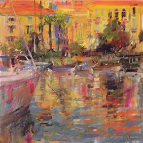 Riviera Moorings (oil on canvas)