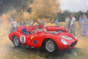 Ferrari, day out at Meadow Brook (olio su tela)