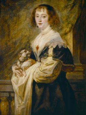Portrait of a lady with a little dog.