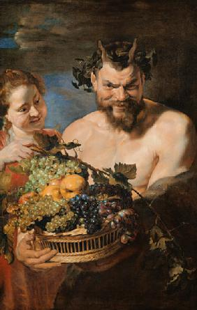 Satyr and girl with Früchtekorb.