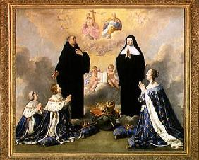 Anne of Austria (1601-66) and her Children at Prayer with St. Benedict and St. Scholastica