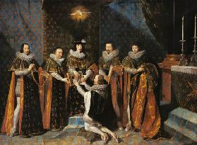 Louis XIII (1601-43) Receiving Henri d'Orleans (1595-1663) Duc de Longueville, into the Order of the