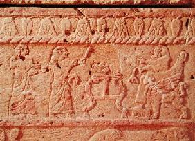 Relief depicting servants paying homage to the king, detail of the Sarcophagus of Ahiram, King of By