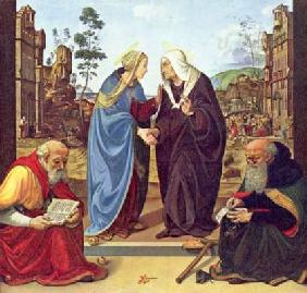 Visitation with two saints