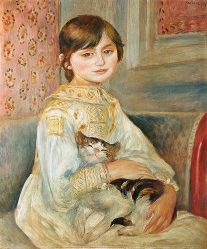 Mademoiselle Julie Manet with cat - Pierre-Auguste Renoir