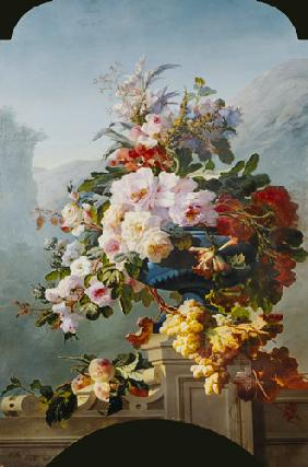 Roses and other flowers in a blue vessel.