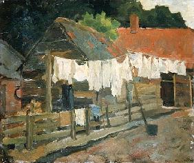 Farmhouse with Wash on the Line