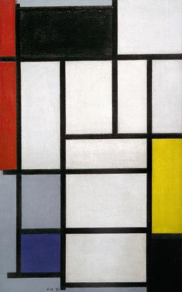 Composition with Red, Black, Yellow, Blue and Grey
