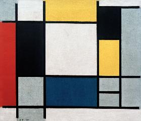 Composition with Yellow, Red, Black, Blue and Grey