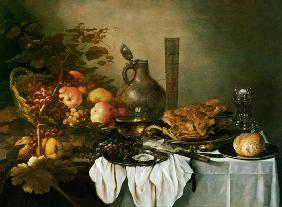 A Still Life With A Roemer, Oysters, A Roll And Meat On Pewter Plates, Fruit In And Around A Basket,