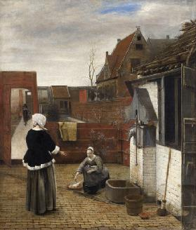 A Woman and her Maid in a Courtyard