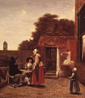 Two Soldiers and a Woman Drinking in a Courtyard
